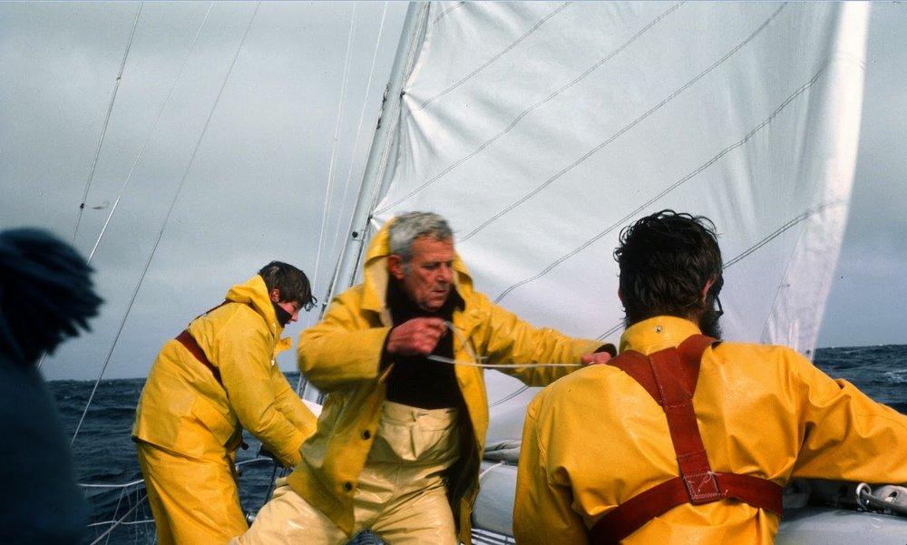 Hank Smith, Orlin Donaldson and Toby Garfield reefing.