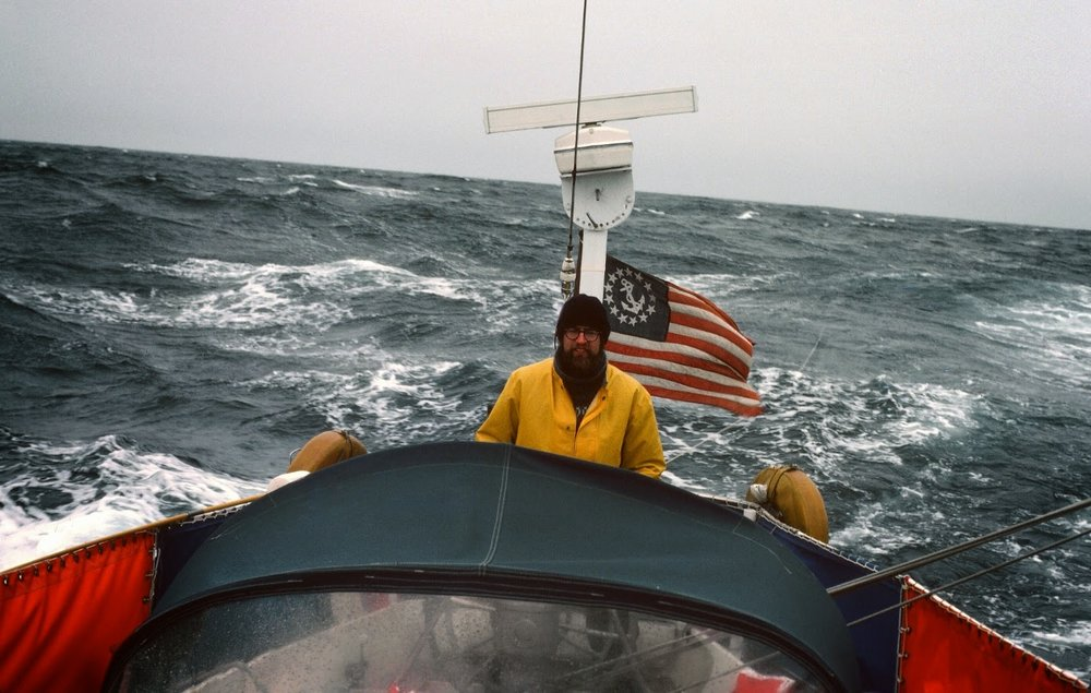 Toby Garfield at the helm during our watch together during a lull in the first gale.