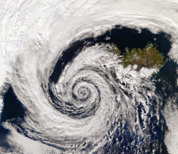 Satellite view of major storm system over Iceland.