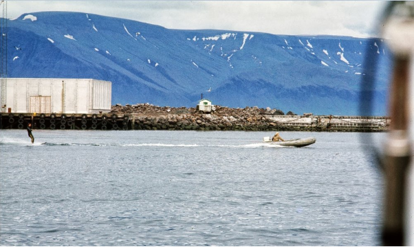 Some locals water-skiing in Reykjavik harbor.  None of our crew was up for trying this. The air temp was near 40 degrees; the water temp slightly warmer.