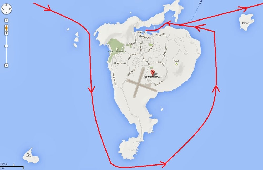 We took a circuitous route around Heimaey before we entered her harbor and went ashore. Helgafell is located on the east side of the island (right side of chart). Mainland Iceland is 15 miles away to the north.