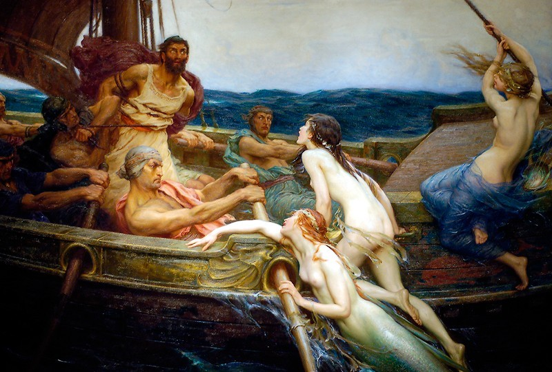 Upon returning to Circe's island, Odysseus was given advice on the remaining dangers that lay before them. The first was the land of the Sirens, dangerous creatures who lured sailors to their death. Odysseus couldn't help his curiosity and had his men put beeswax in their own ears and tie him to the mast so he could hear the Sirens' song. Because of the song, Odysseus pleaded to be freed but his sailors ignored him until they were at a safe distance. (Painting: Herbert James Draper's Ulysses and the Sirens, 1909)