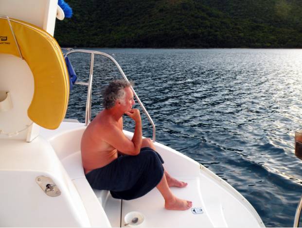 Contemplating the day after a snorkel and a swim in Leinart Bay north of St. John, AVI.