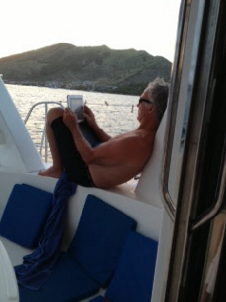 Writing thoughts aboard a cat near St. Barts - 2011