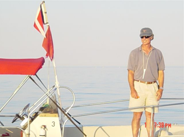 Withstanding the calm and heat as Pequot Yacht Club's Race Committee, Southport, CT - 2001