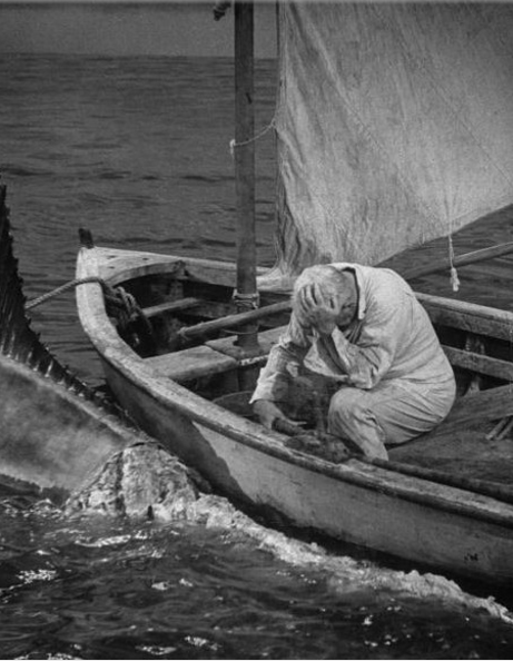 Santiago in The Old Man (Spensor Tracy) and the Sea realizes the sharks have eaten his catch and he is helpless.