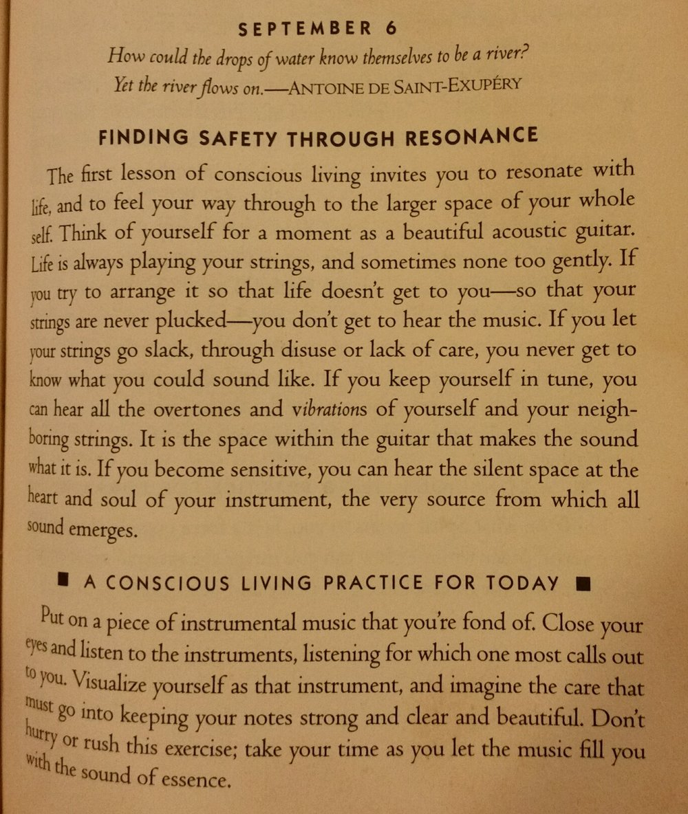 The day's passage from  A Year of Living Consciously