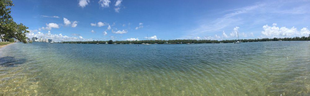 A panoramic northwestern view of Marine Stadium anchorage's 100 or so boats anchored  in preparation for Irma.