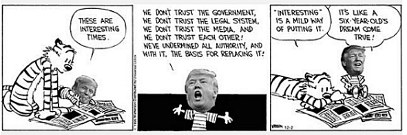 Trust him? How can we trust someone who says everything is fake? While Trump promotes and proclaims fake news, the cartoons and caricatures create fake images that intelligently reveal truths. But while cartoons may portray a fake reality, they paradoxically portray truth....of course, in a fake way that may appear more real than reality.