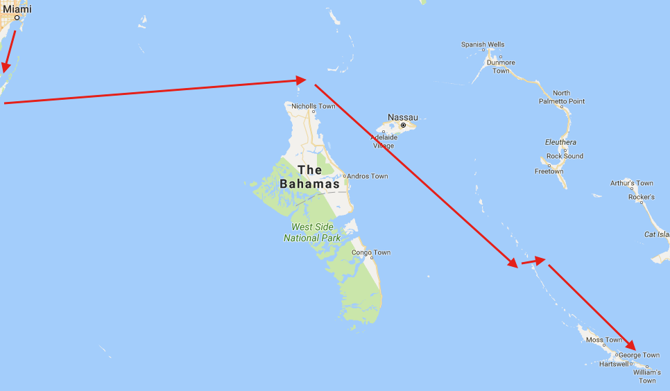 While many of my initial plans to sail to the Bahamas changed, my actual course did not.