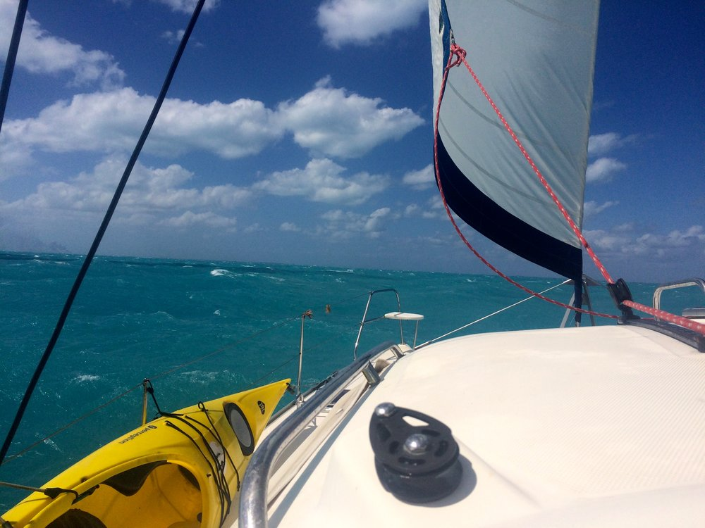 A 30-knot breeze pushed Mystique at 8-10 knots from Highborne Cay to Nassau in 2017.