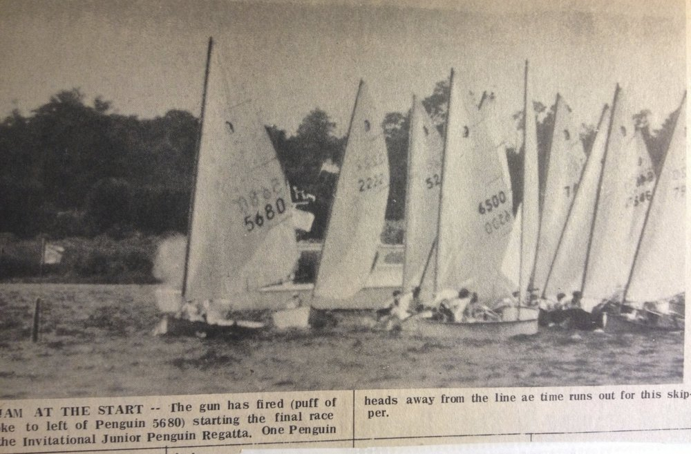 At the starting gun of a Penguin race on the Tred Avon River near Oxford, MD from the late 1960's, all skippers are searching for FLOW.