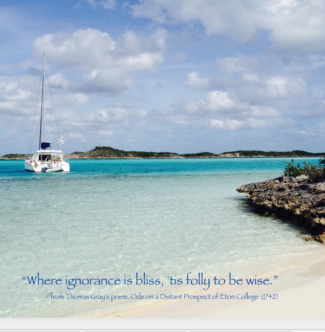 Moored in a swift tidal flow, Mystique sits pretty between Hog Cay and Warderwick Wells in the Exuma Land and Sea Park in 2015. Near the Pirates Lair, this sweet spot was safe and secure for Bahamian pirates of the seventeenth century.