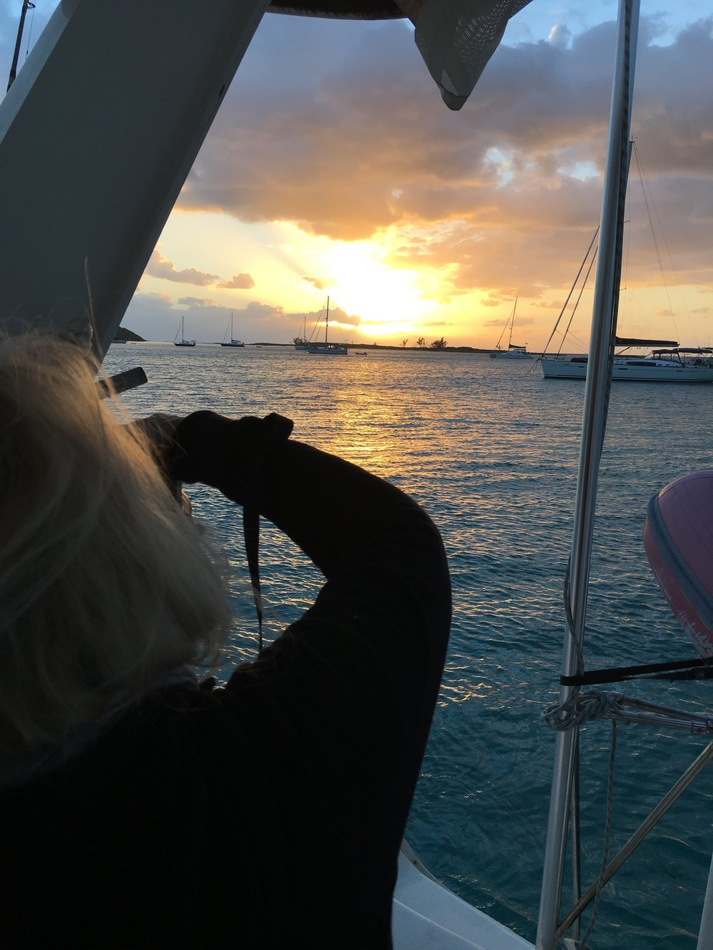 We moved after we hit bottom and awoke to a sunrise at Rose Island, a few miles east of Nassau.
