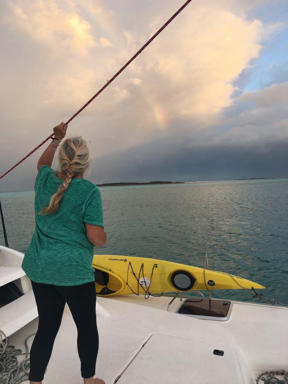Spotting an early morning rainbow near Spirit Cay,Exuma