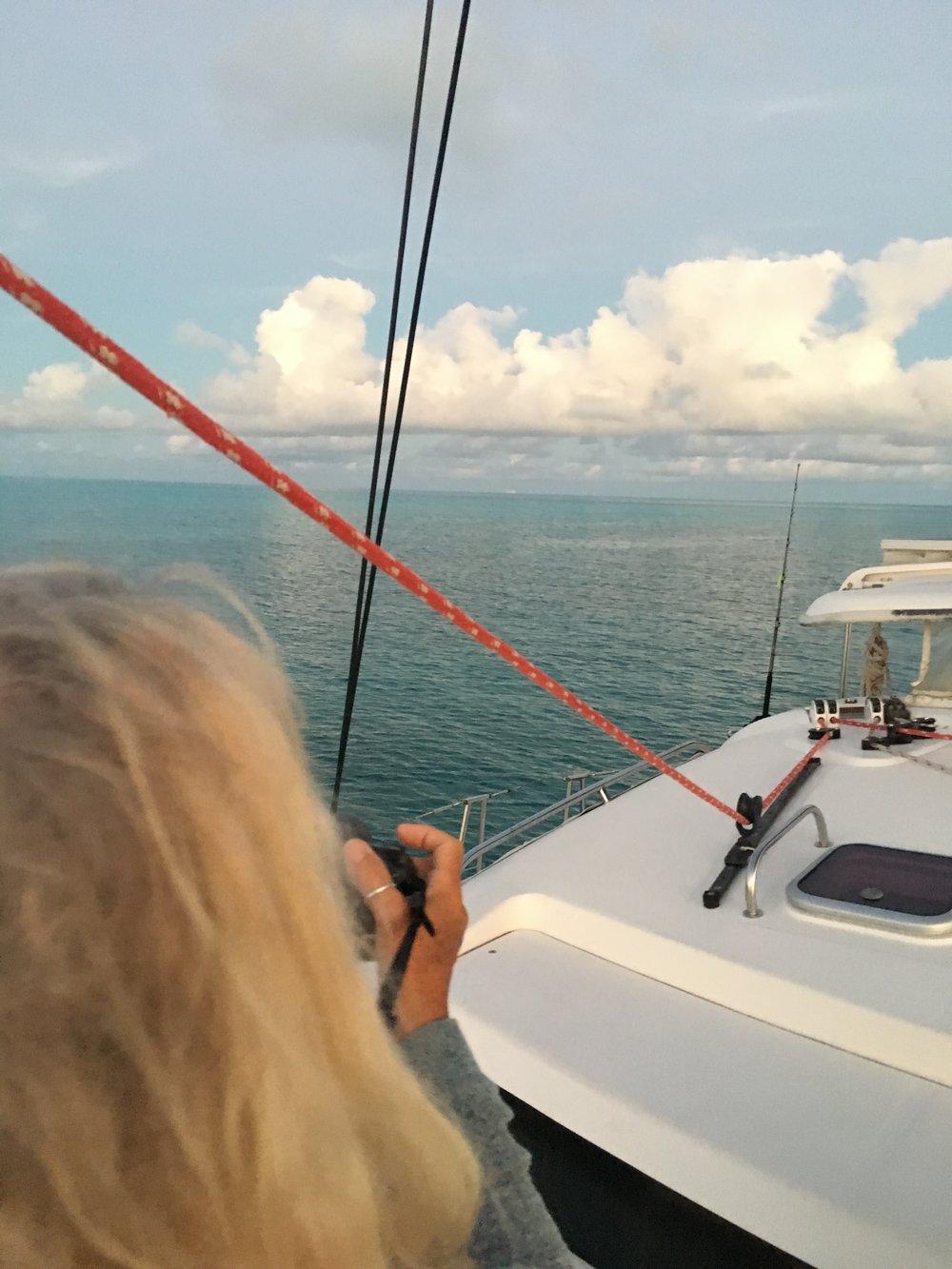 Peering westward at Spirit Cay before sundown
