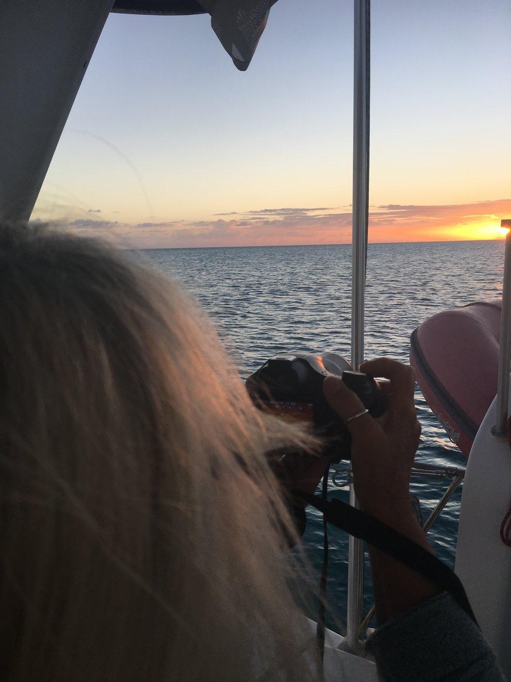 At sunset near Long Cay, Exumas