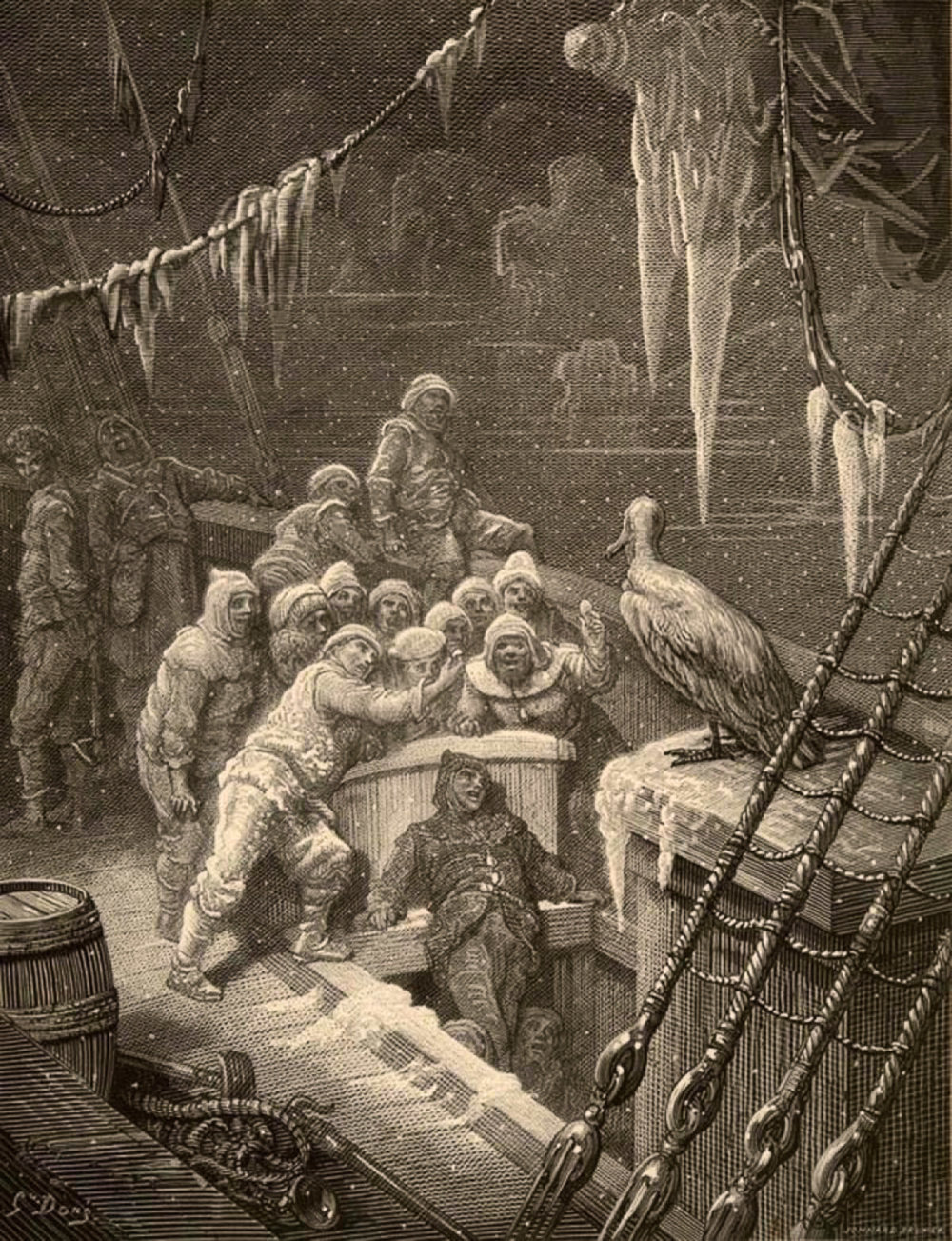 In the  Rime of the Ancient Mariner  an albatross lands onboard a ship; the crew then attempts to interpret its appearance. And their judgements point their collective finger at the bird and then one of their own.  They hastily blame the bird; it must have been responsible for their fate.