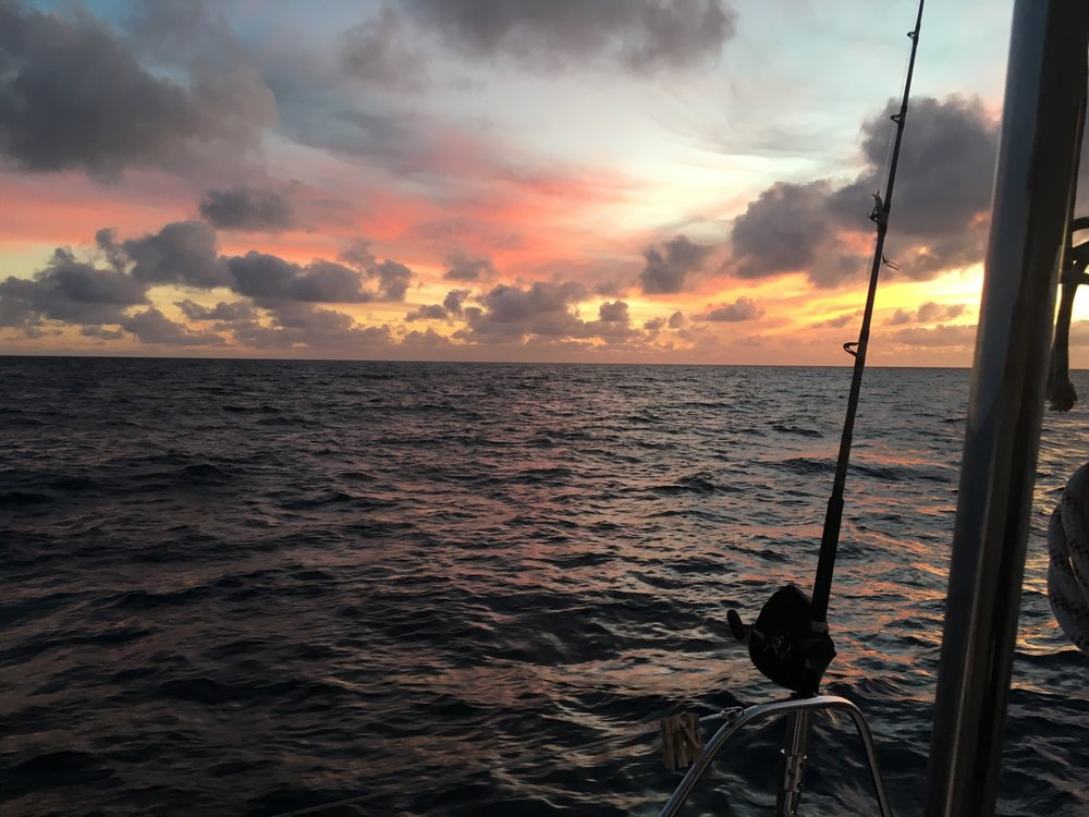 Our view of the western sky where we sailed from as we neared Bimini harbor on Sunday, Feb 3, 2018.