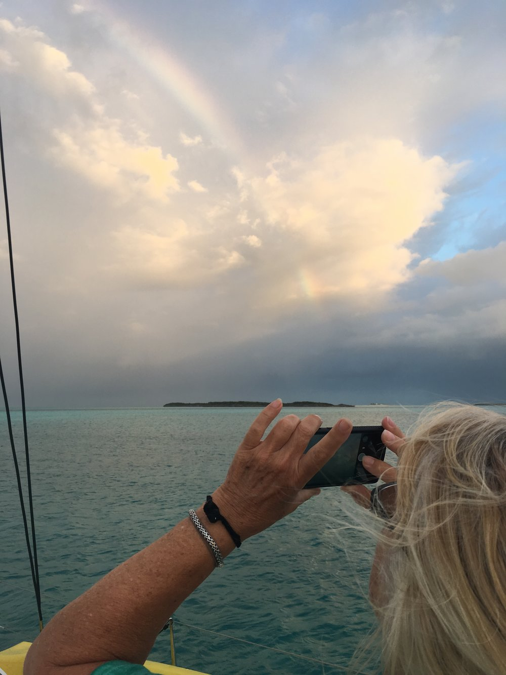 A morning rainbow greets one of our mornings at Spirit and Long Cays