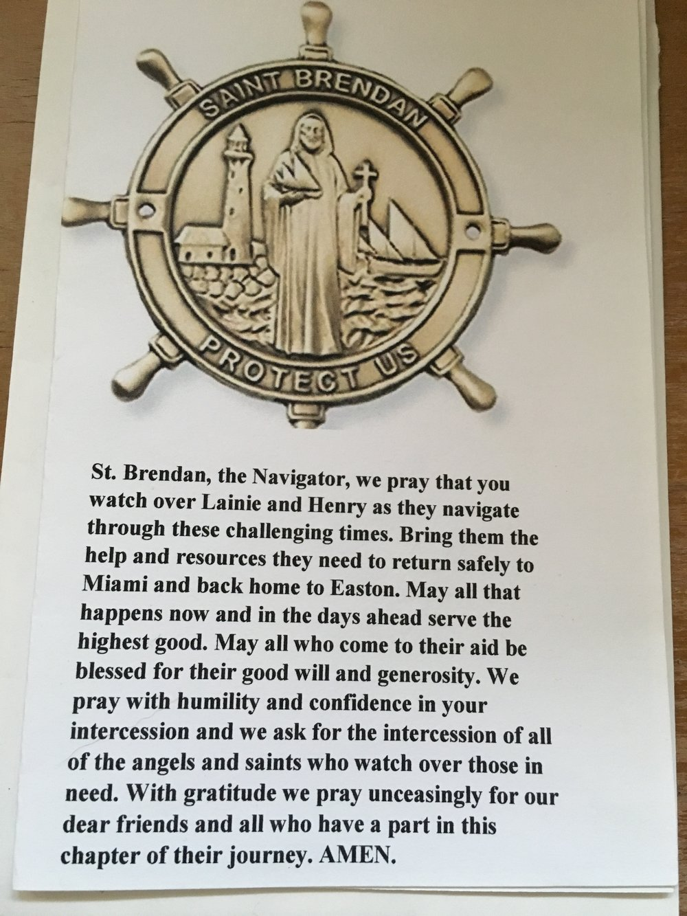 When we returned from our roundtrip sailing adventure to the Bahamas, we found the above prayer in our mailbox