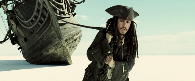 Jack Sparrow attempts to help himself - by pulling his ship across a desert in an alternative reality. His ship as his burden and responsibility.