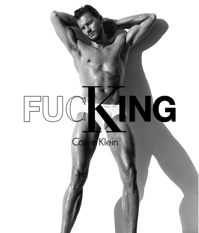 Artwork & Editorial Design for Calvin Klein    The word 'fucking' contains both the initials of Calvin Klein and the word 'KING' which is highlighted. The visual compliments Klein's minimal yet provocative aesthetic to thrill and inspire the vibrant and explosive youth of today.
