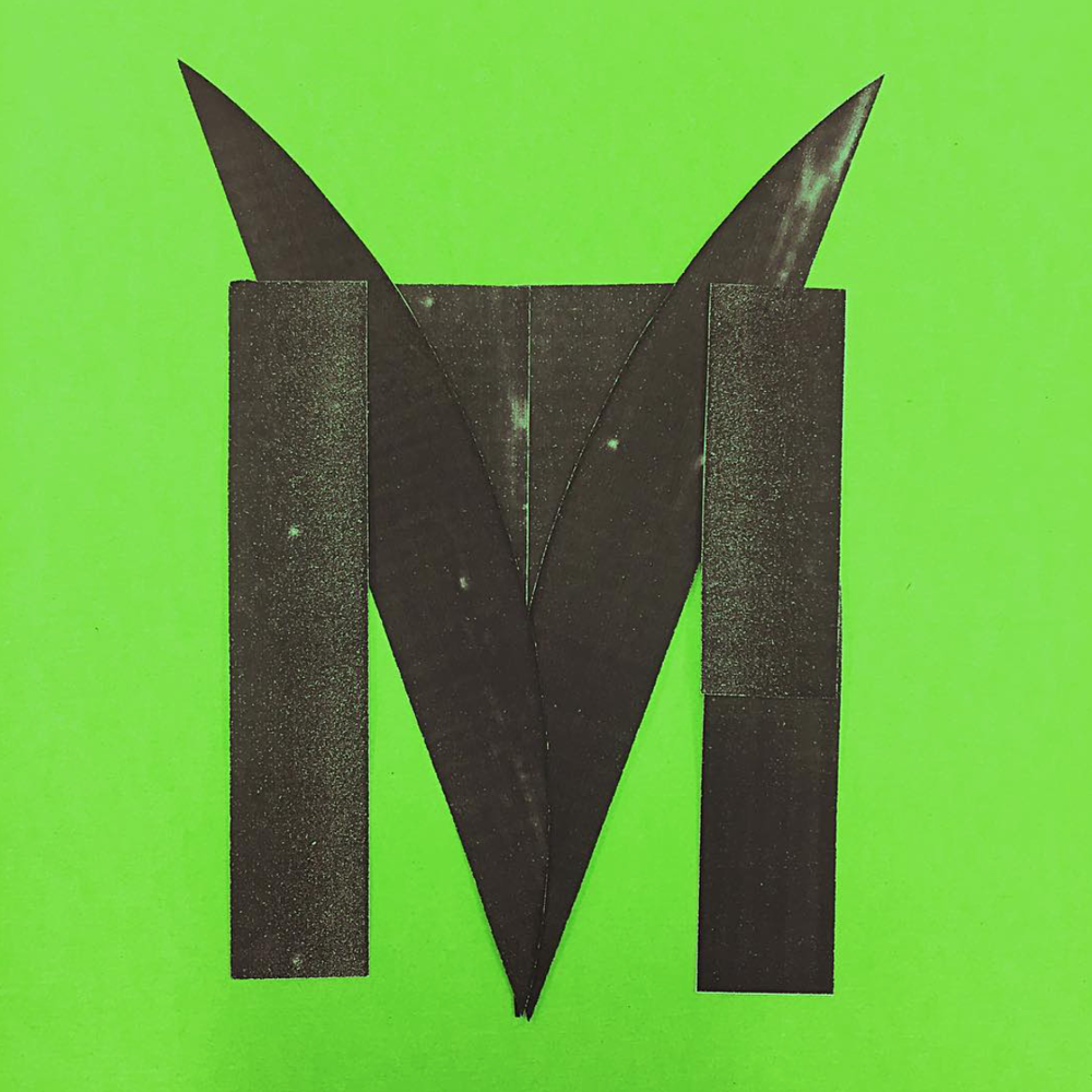 Analogue Typography Study    The letter M is constructed using leaf-shaped elements in reference to tropical rainforest.