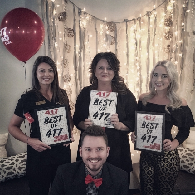 Pictured L to R : Lindsey Mobley, voted Best Massage Therapist and Best Esthetician; Ammiee Scott with 417 Magazine; Kyler Kays, Grove Guest Services Specialist; Kerri Ferris, Spa Director.