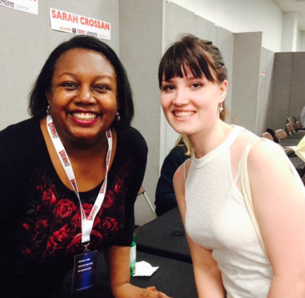 Kate meets Malorie Blackman, OBE, who held the position of Children's Laureate from 2013 to 2015.