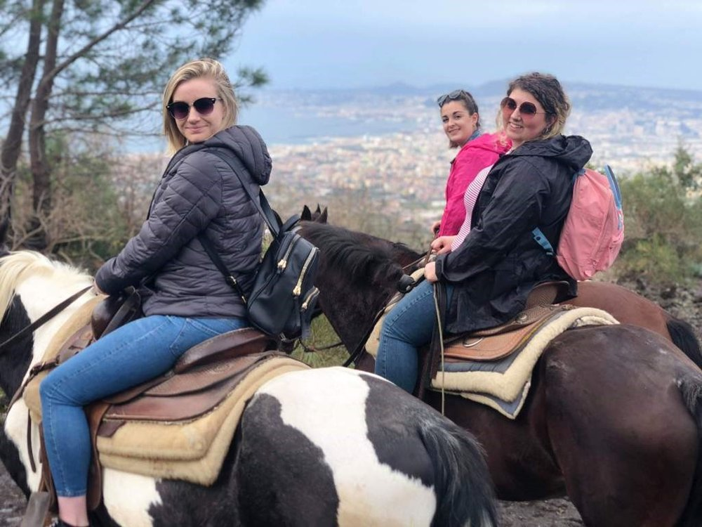 The team took a horse trek up Mount Vesuvius recreating the climb that Attilus does, one of the characters in Robert Harris'  Pompeii,  in the hopes to find out what is wrong with the city's water supply.