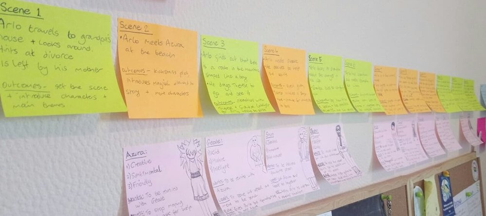 Ceire plans out the structure of her short story with colour-coded post-its.
