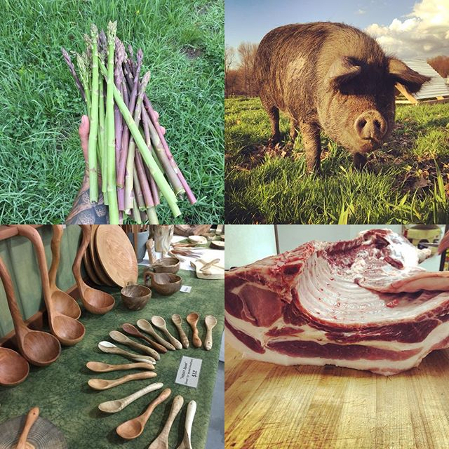Hey Pittsburgh people! Been wanting to purchase our #ethicallyraised #nongmofed #applefinished #pasturedpork but haven't had to time to drive up to the farm?! We will be @bloomfieldpgh Bloomfield Farmers Market every Saturday starting tomorrow from 9am-2pm. This week we will have asparagus, a variety of pork cuts, and our @riverwoodtradingco hand carved treenware. Please stop out and see us!  #farmersmarket #nongmo #theotherredmeat #treenware #supportyourlocalfarmer #knowwhereyourfoodcomesfrom #saynotocafo