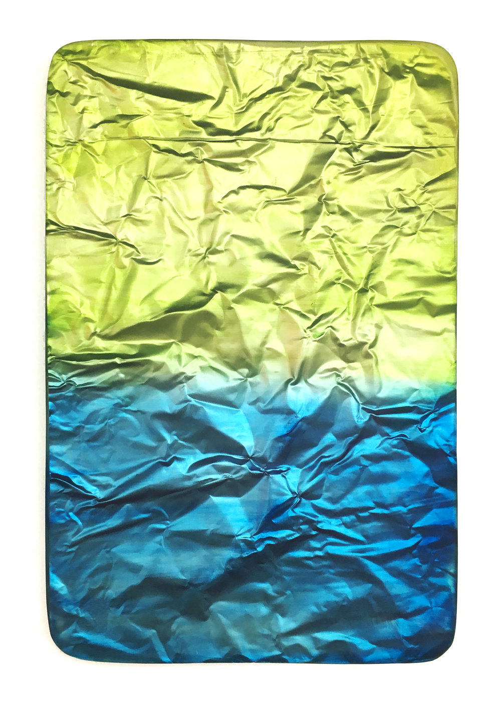 "SLU FINER   mdf panel, oil paint, UV  protected epoxy, vanish, roofing aluminum  20"" x 30"" 2012"