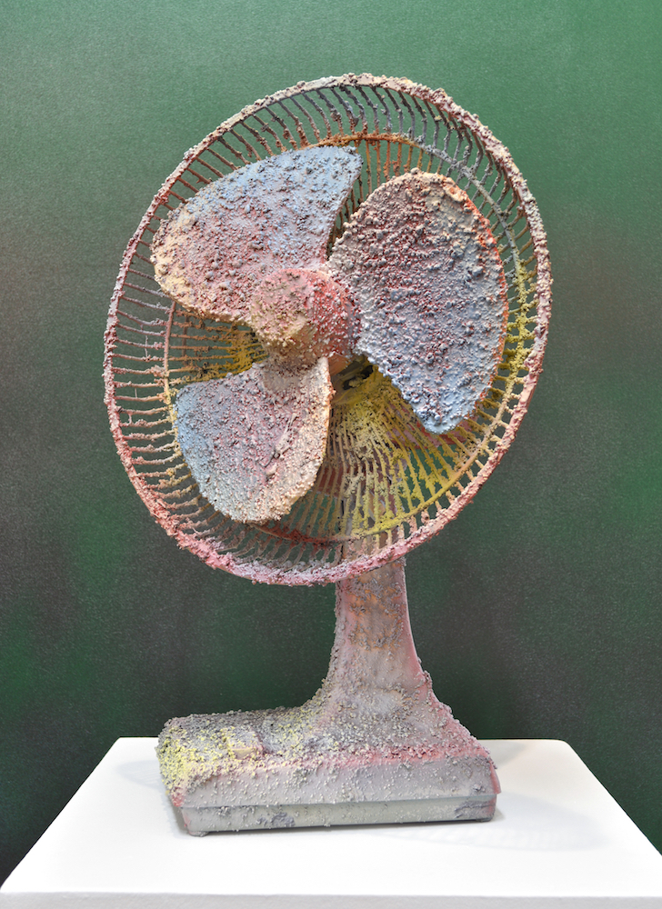 Julian Lorber  - Cake, 2016, desk fan, acrylic medium and paint. 20 x 14.5 x 10 inches