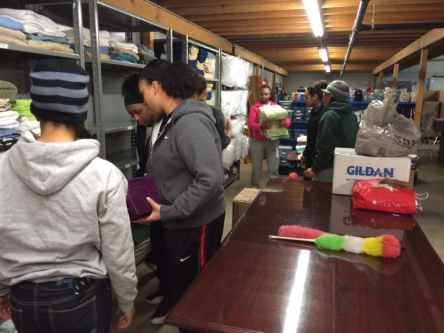 South Side girls basketball team helps clean Mustard Seed Furniture Bank_1390256519509_5319459_ver1.0_640_480
