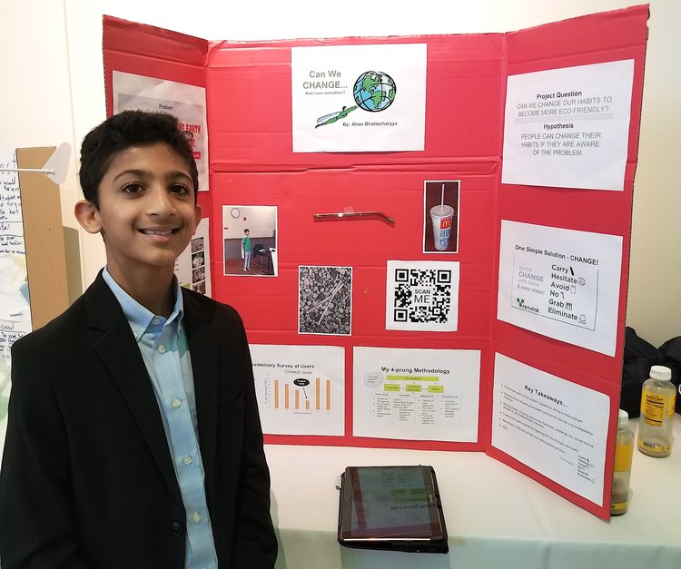 Ahan's display at the Eco Science Fair in April.