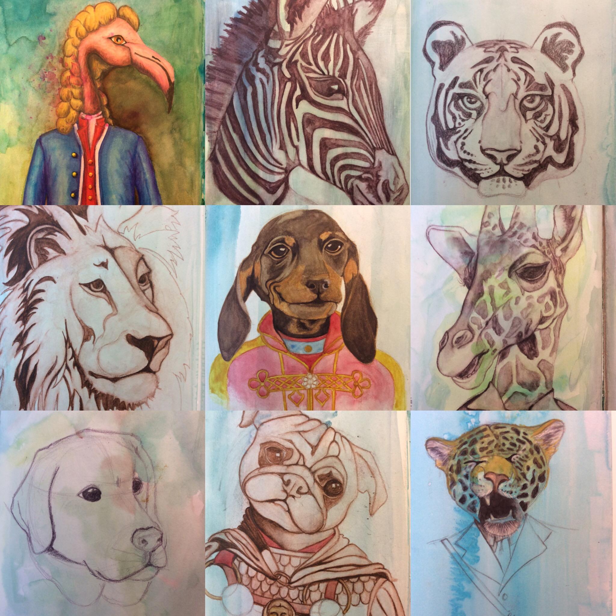 Anthropomorphism, Zebra, Tiger, Dog, Flamingo, Historical, Watercolour, Mixed Media, Watercolor, Sketchbook