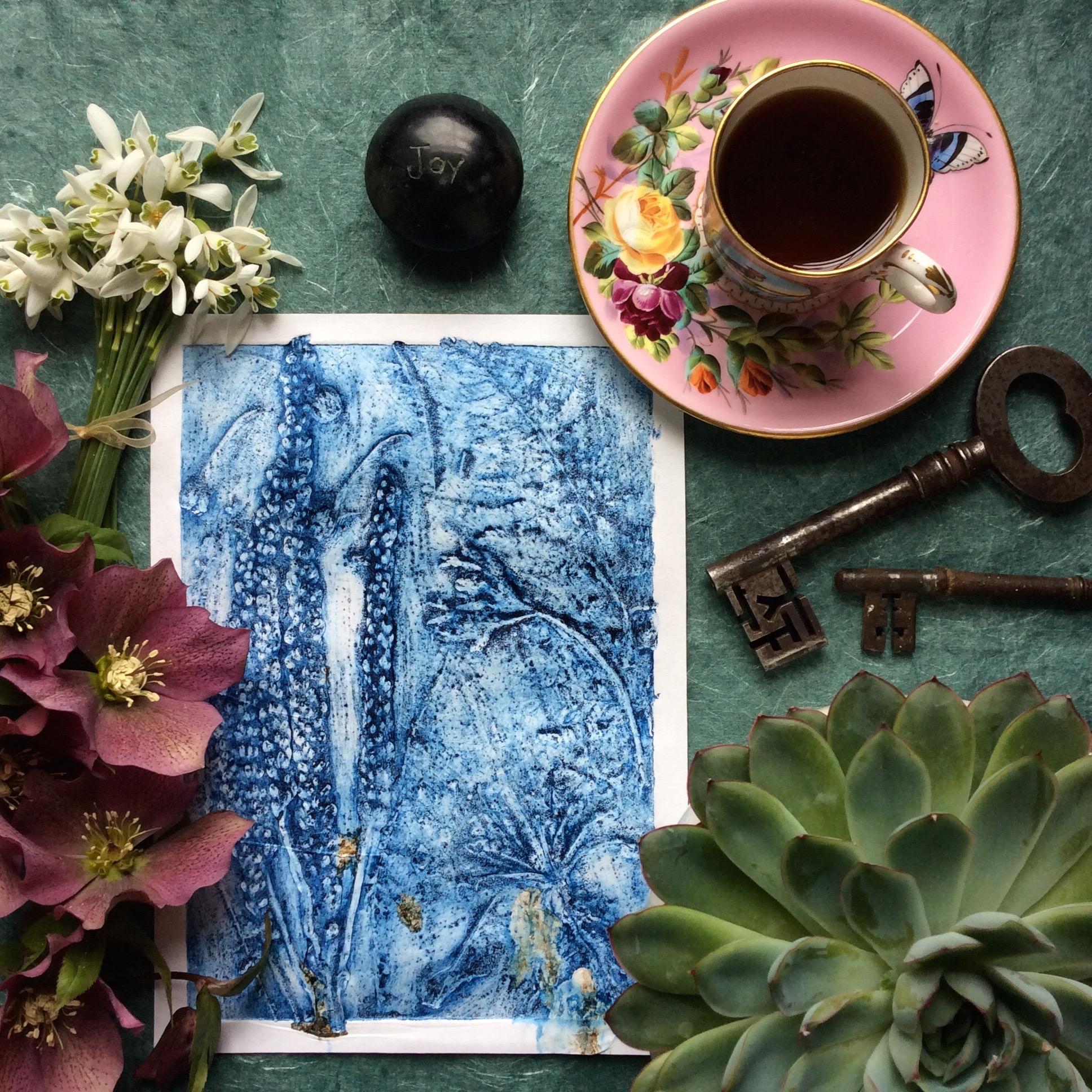 Succulent Vintage Keys Snowdrops Hellebores Blue