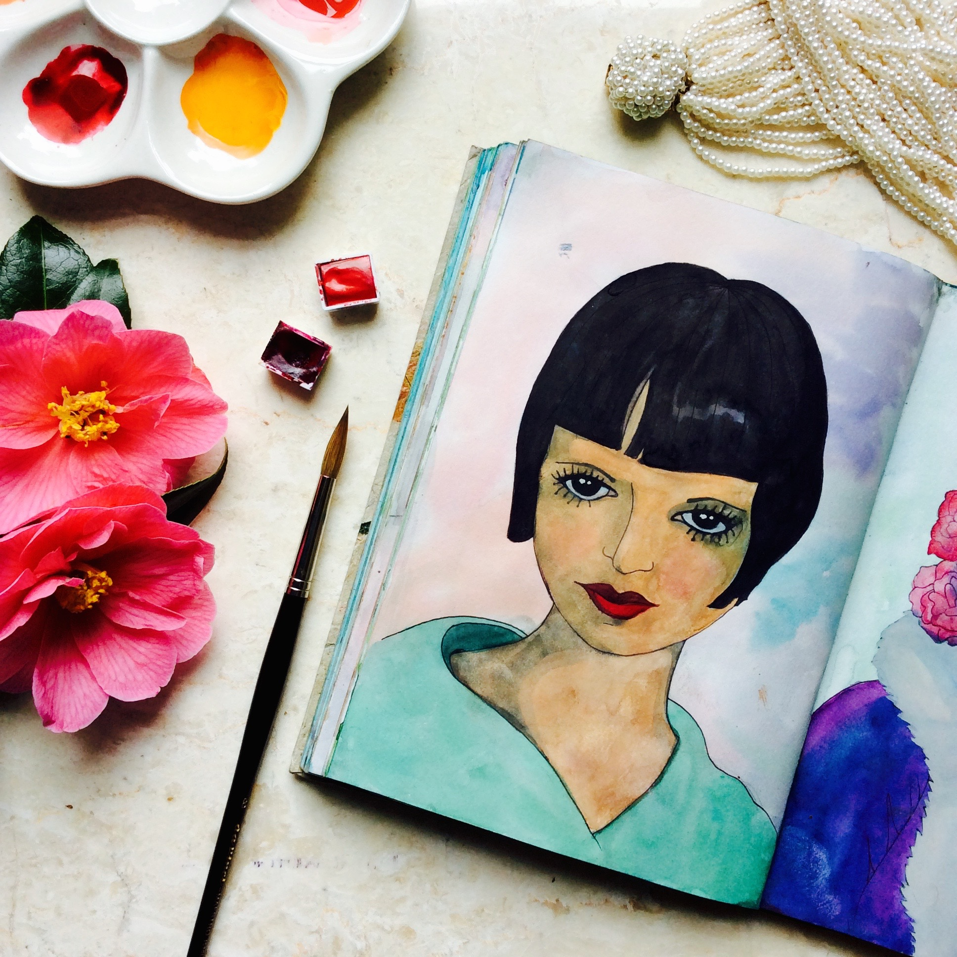 Vintage Fashion Glamour Girl Watercolour Portrait