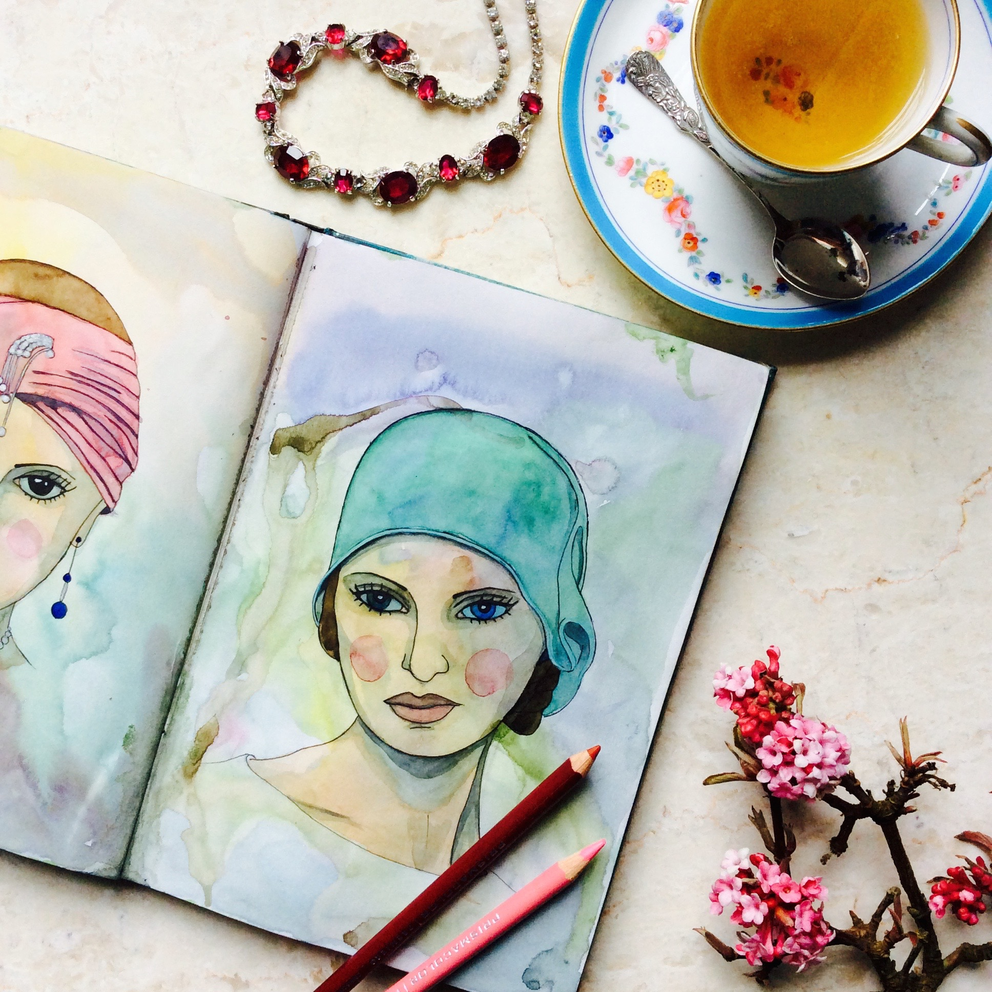 Vintage Fashion Glamour Girl Portrait in Watercolour Paint