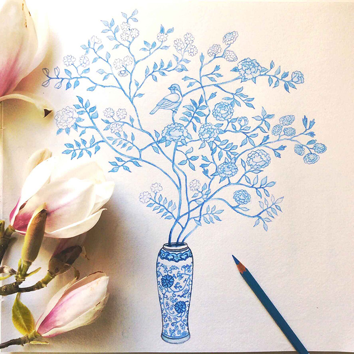 Blue & White Vase with Flowers & Bird Pencil Sketch