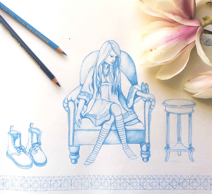 Blue & White Pencil Drawing of Woman Seated