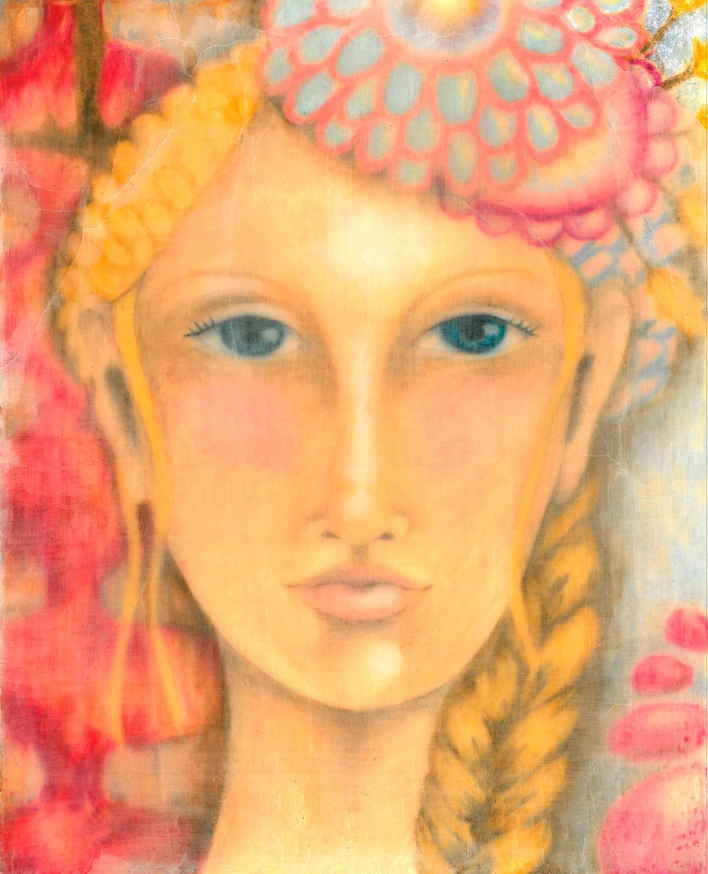 Encaustic & Mixed Media Whimsical Girl