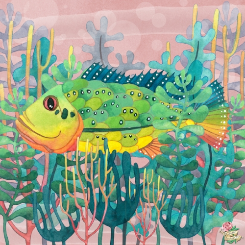 Tropical Fish Coral and Seaweed Watercolour Painting by Susie Batsford