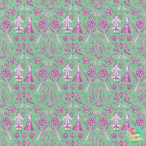 Garden Folk Pattern Design Arsenic Green Raspberry by Susie Batsford