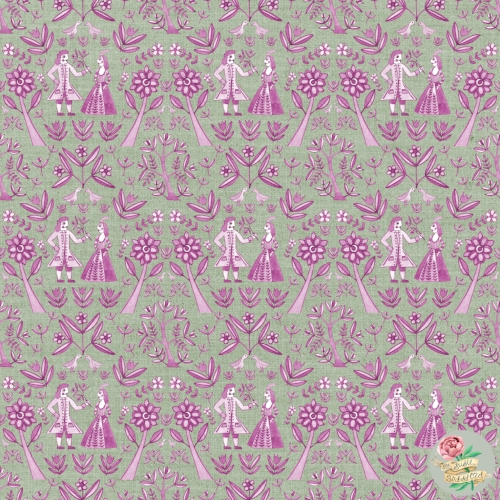 Garden Folk Pattern Design Sage Raspberry Green by Susie Batsford