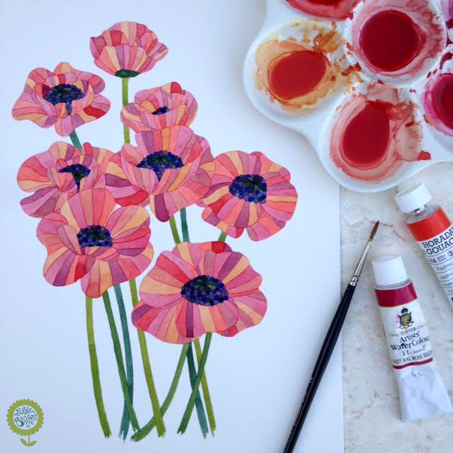 Susie Batsford Illustration Watercolour Flowers