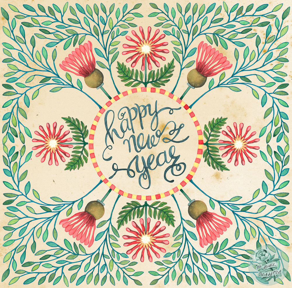 Happy New Year Illustration Design by Susie Batsford
