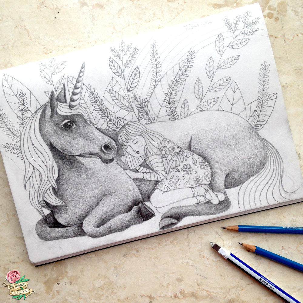 Unicorn Drawing by Susie Batsford
